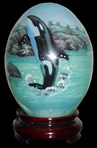 Killer Whale Hand-Painted Glass Egg (Hand Painted on the inside through small hole in the bottom)