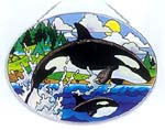 Stained Glass Orca Whale Suncatcher