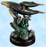 Brass Coated Mother and Calf Whales Sculpture